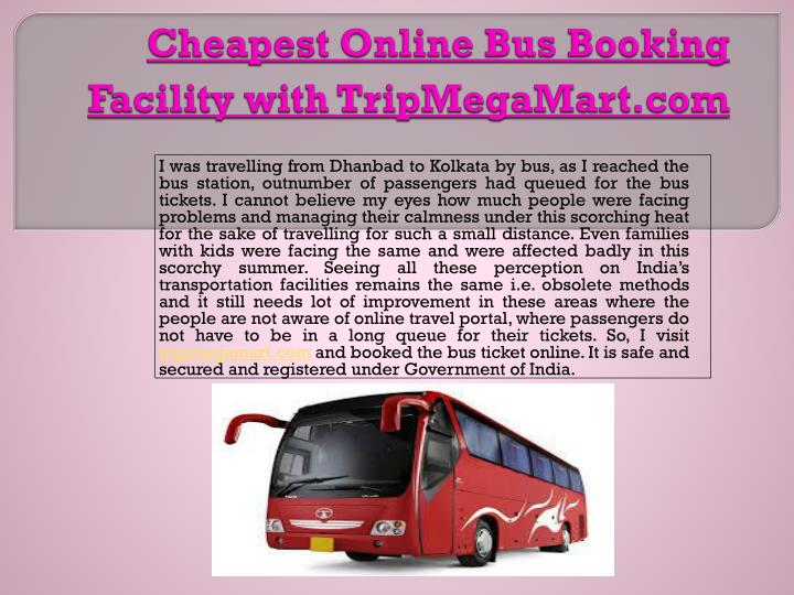 cheapest online bus booking facility with tripmegamart com n.