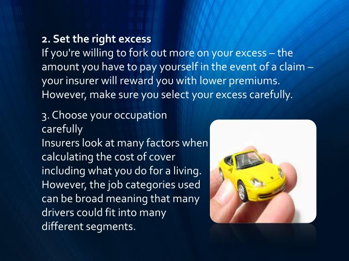 2. Set the right excess