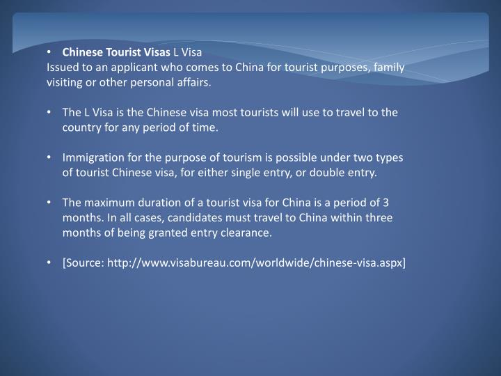 Chinese Tourist Visas