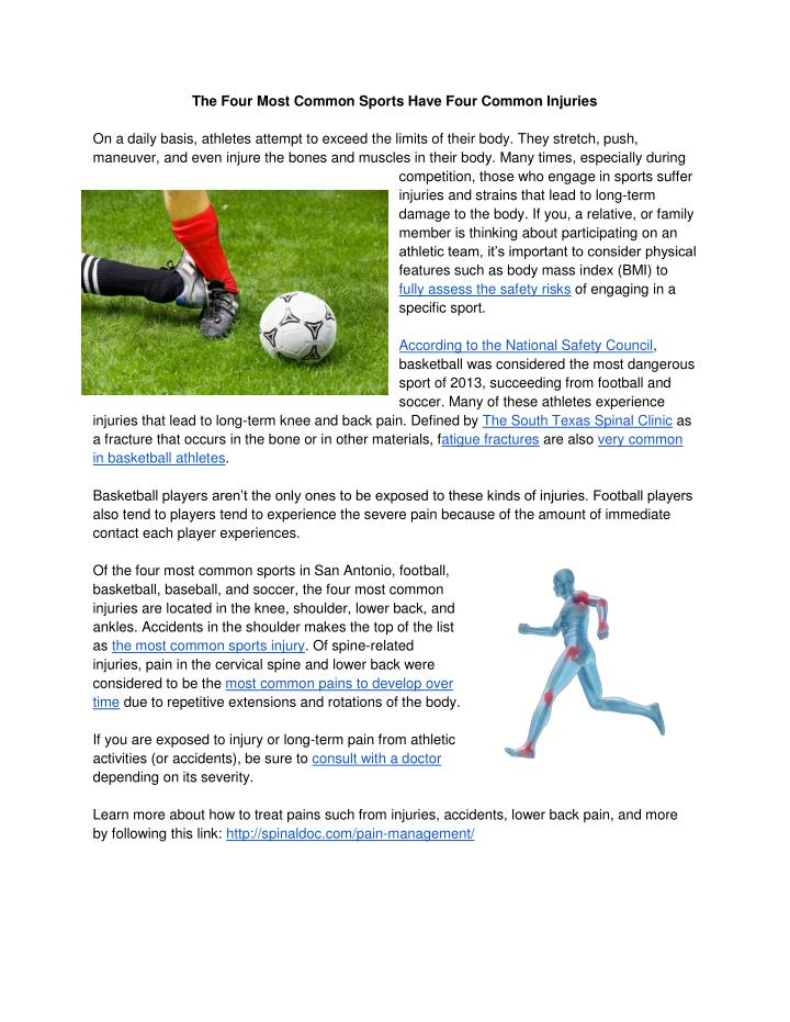 The Four Most Common Sports Have Four Common Injuries