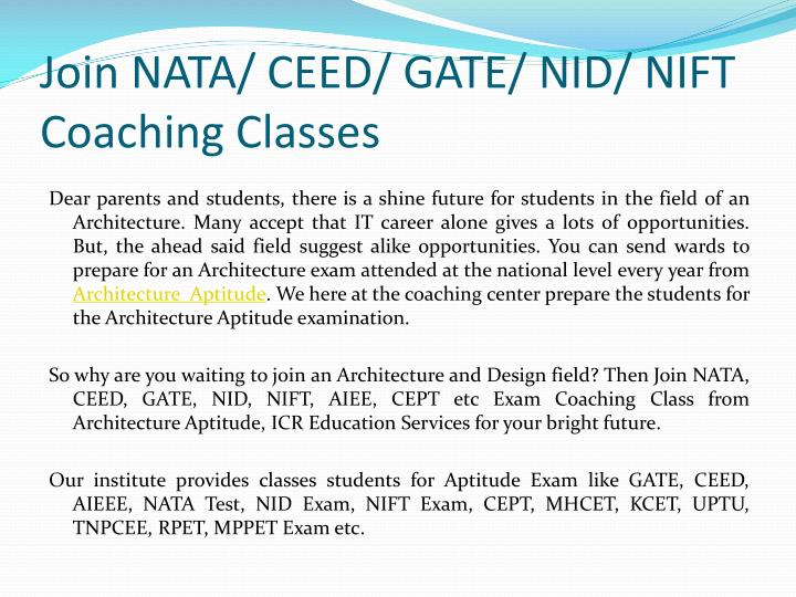 Join nata ceed gate nid nift coaching classes