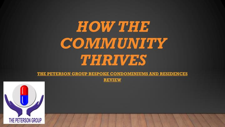 how the community thrives n.