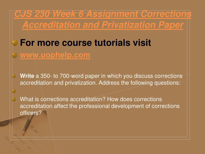 CJS 230 Week 6 Assignment Corrections Accreditation and Privatization Paper