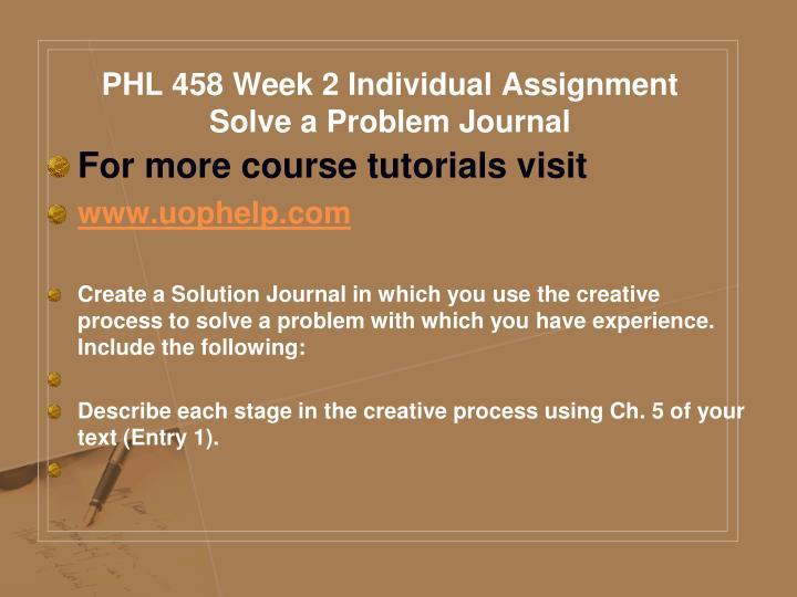PHL 458 Week 2 Individual Assignment Solve a Problem Journal