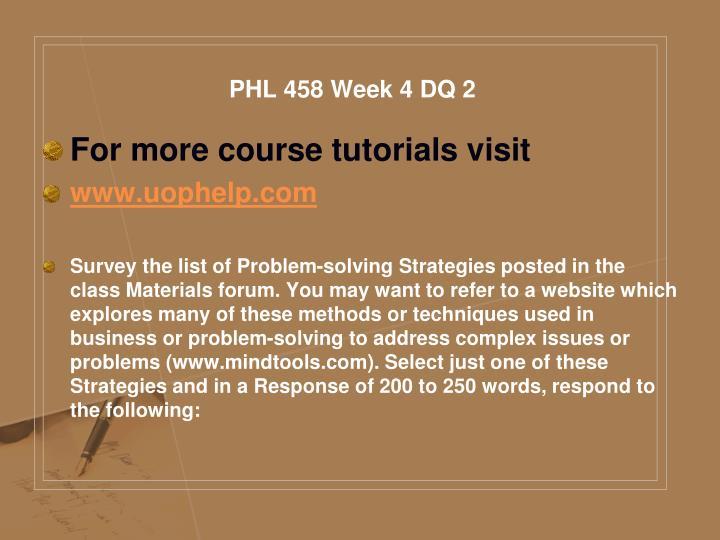 PHL 458 Week 4 DQ 2