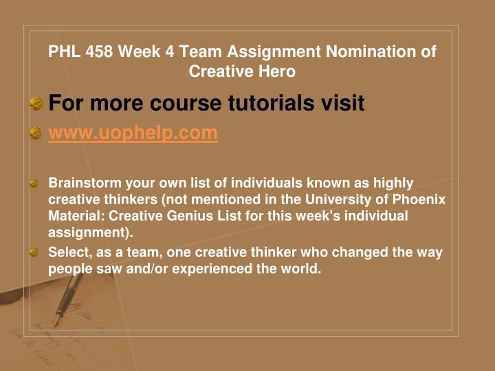 PHL 458 Week 4 Team Assignment Nomination of Creative Hero