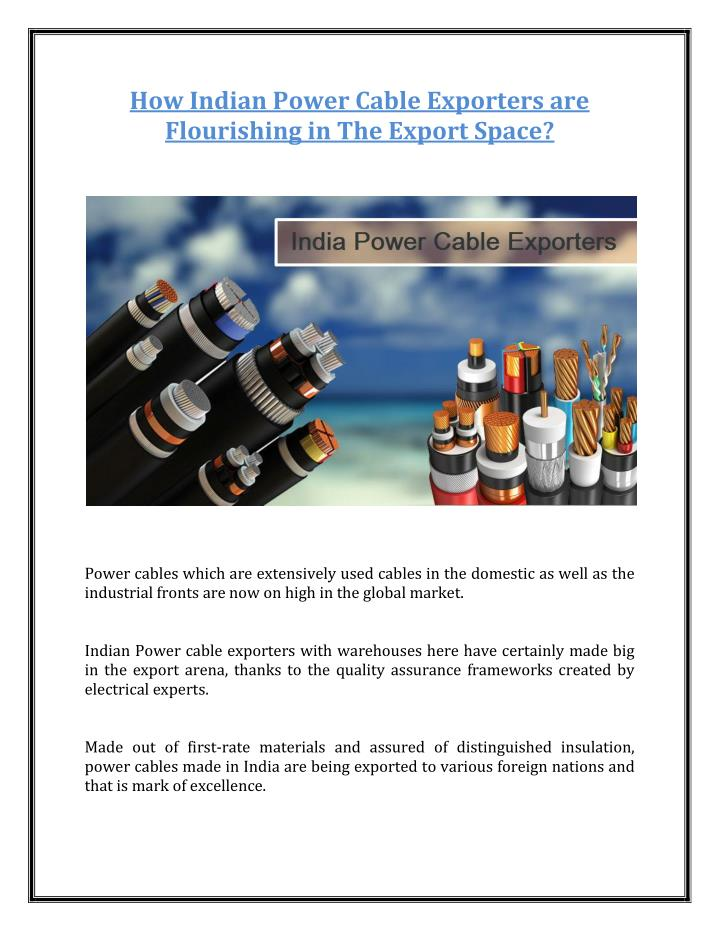 How Indian Power Cable Exporters are