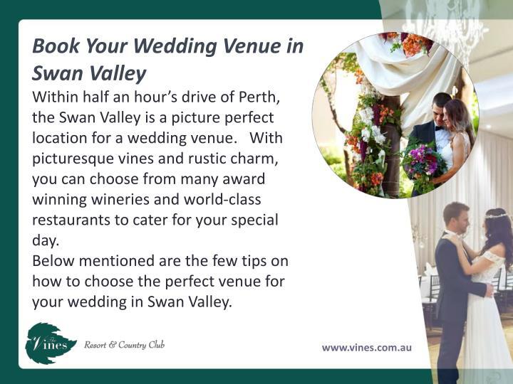 Book Your Wedding Venue in Swan Valley