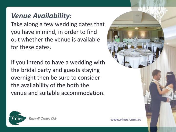 Venue Availability: