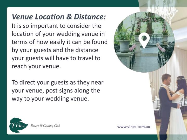 Venue Location & Distance: