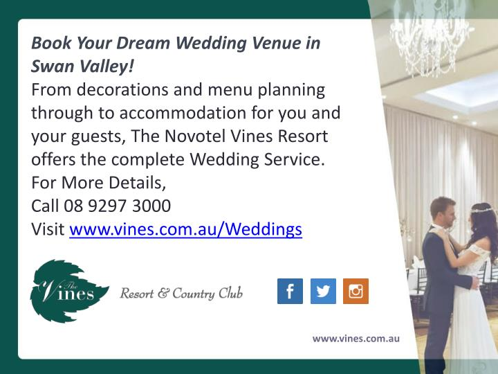 Book Your Dream Wedding Venue in Swan Valley!