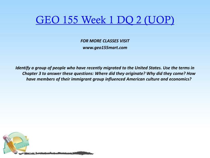 GEO 155 Week 1 DQ 2 (UOP)