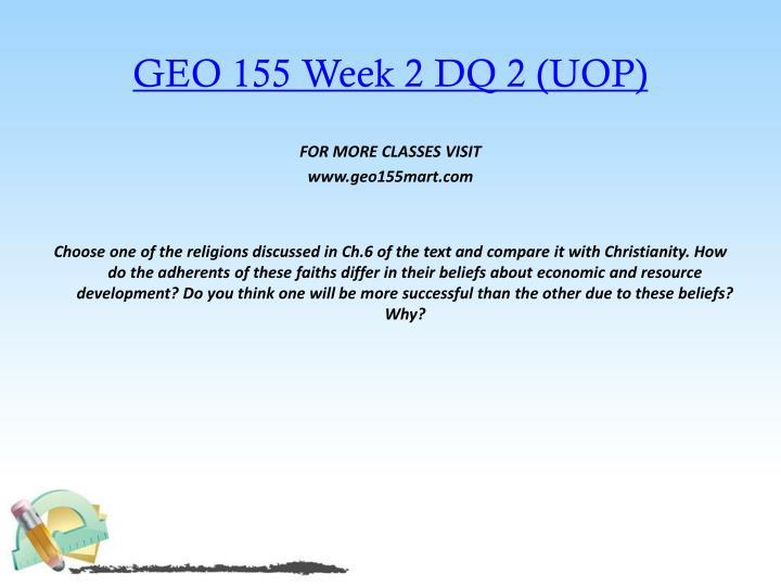 GEO 155 Week 2 DQ 2 (UOP)