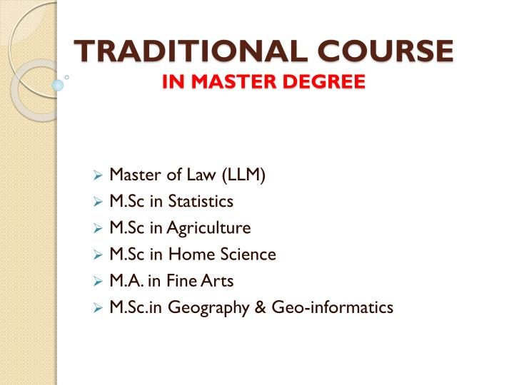 Traditional course in master degree1