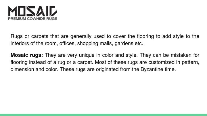 Rugs or carpets that are generally used to cover the flooring to add style to the interiors of the r...