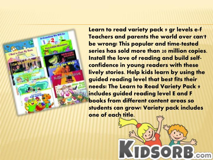 Learn to read variety pack 9 gr levels e-f