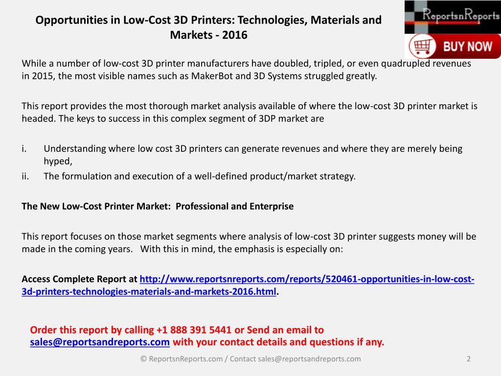 PPT - Future of Low Cost 3D Printing Market for Next 10 Year