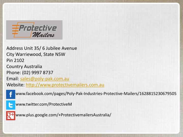 Address Unit 35/ 6 Jubilee Avenue
