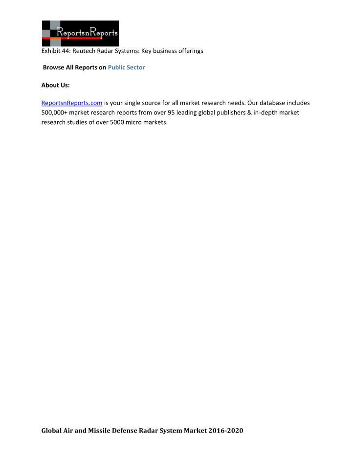 Exhibit 44: Reutech Radar Systems: Key business offerings