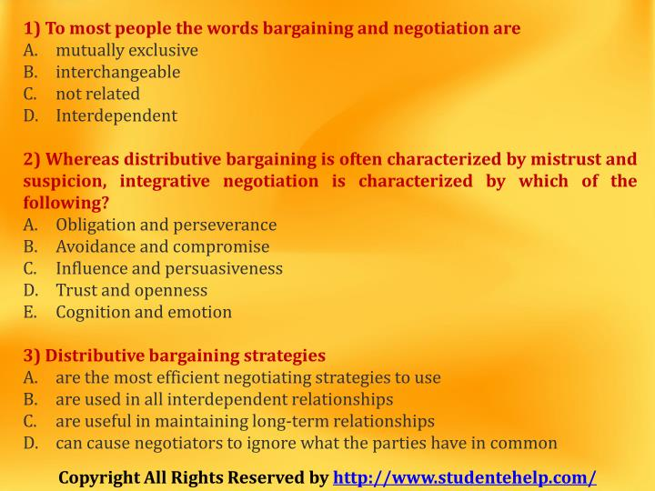 1) To most people the words bargaining and negotiation are