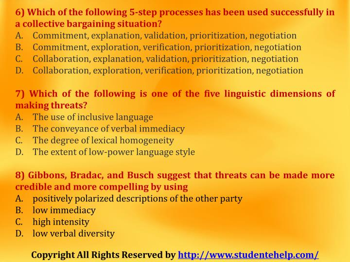 6) Which of the following 5-step processes has been used successfully in
