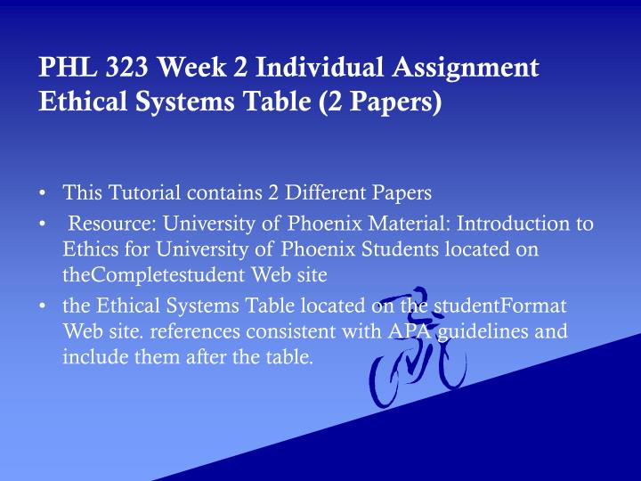 phl 323 For more classes visit wwwphl323homeworkcom this tutorial contains 2 sets (of papers) for all individual and team assignments phl 323 week 1 individual assignment personal ethics development paper (2 papers) phl 323 week 1 dq 1 phl 323 week 1 dq 2 phl 323 week 1 dq 3 phl 323 week 1 summary phl 323 week 1 dq 4 phl 323.