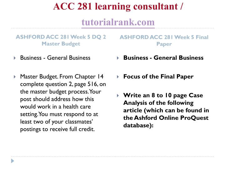 ashford week 4 acc 281 Acc 281 complete course week 1-5 / accounting concepts for health care concepts for health care professionals click ashford acc 281 week 4 dq.