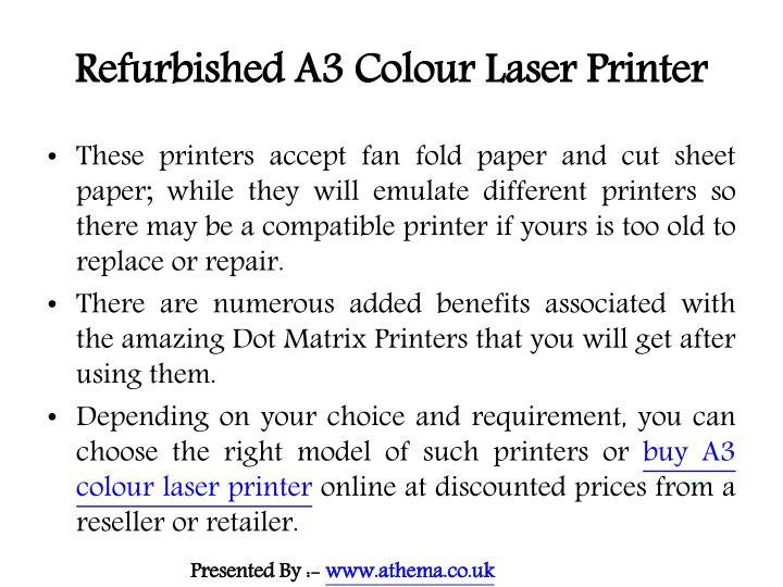 Refurbished a3 colour laser printer