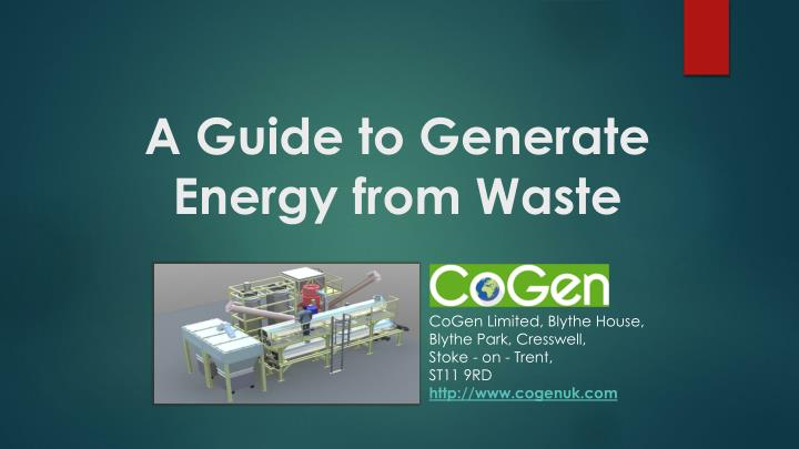 a guide to generate energy from waste n.