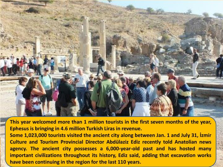 This year welcomed more than 1 million tourists in the first seven months of the year, Ephesus is bringing in 4.6 million Turkish Liras in revenue.