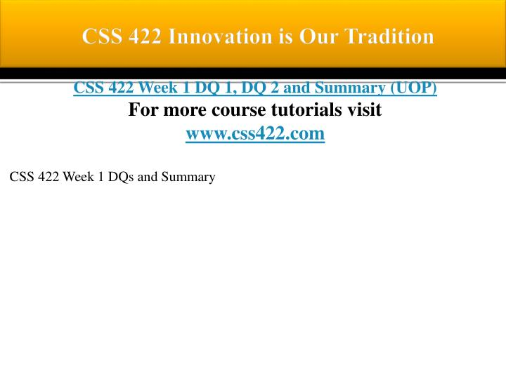 Css 422 innovation is our tradition1