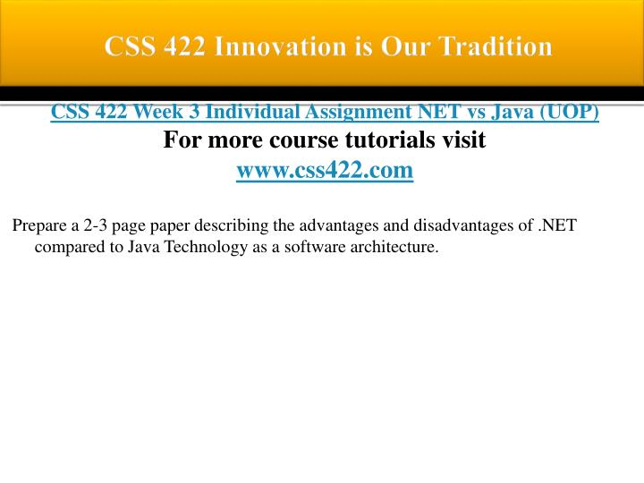 CSS 422 Innovation is Our Tradition