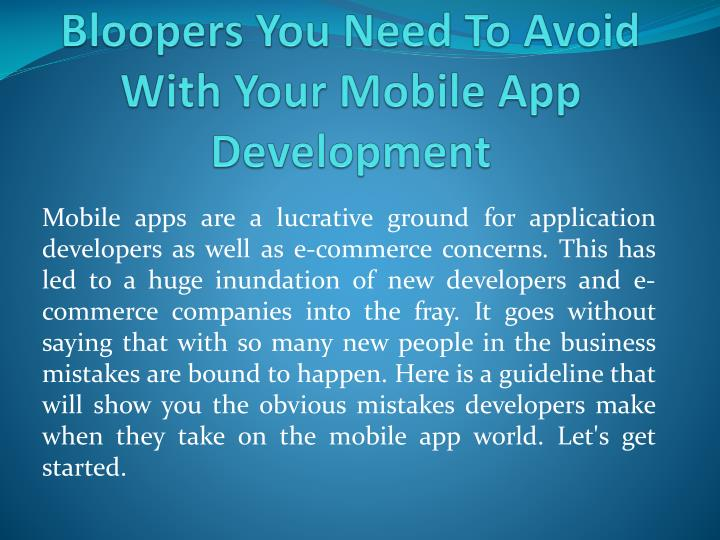 bloopers you need to avoid with your mobile app development n.