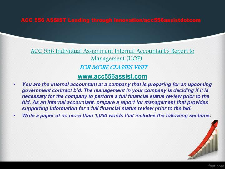 ACC 556 ASSIST Leading through innovation/acc556assistdotcom