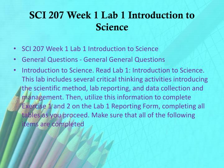 SCI 207 Week 1 Lab 1 Introduction to Science
