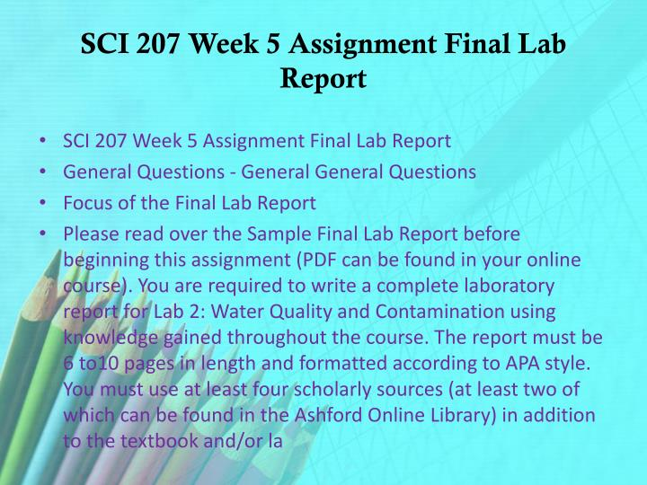 SCI 207 Week 5 Assignment Final Lab Report