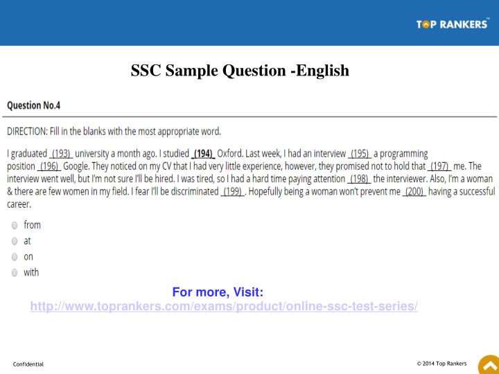 SSC Sample Question -English