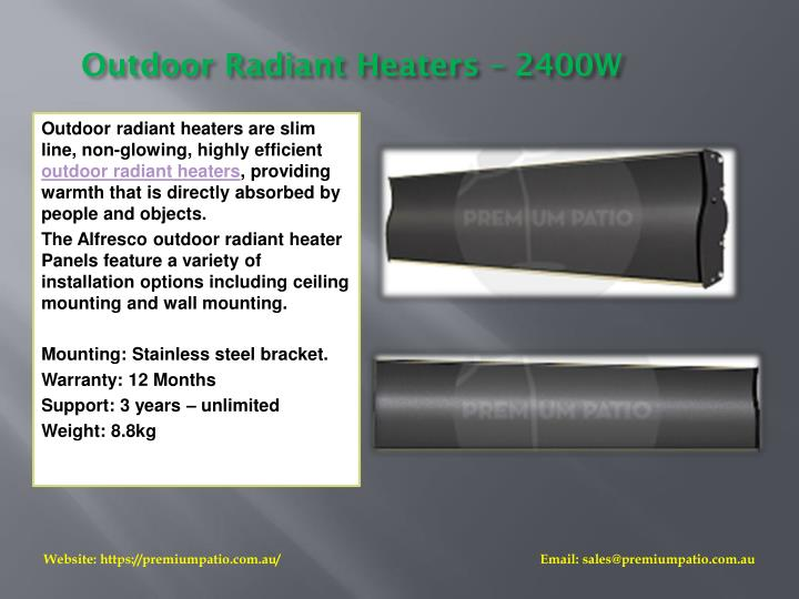 Outdoor Radiant Heaters – 2400W