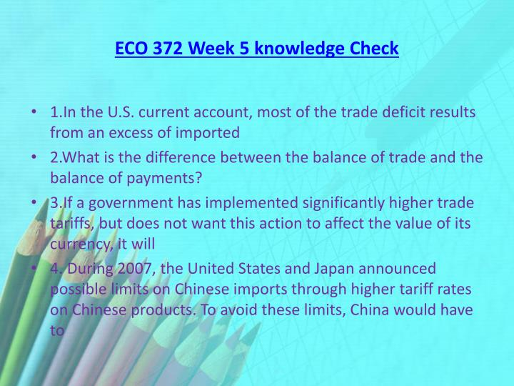 eco 372 week 5 summary Welcome to lil-help a free online homework help website ask the community or get customized expert homework assistance.
