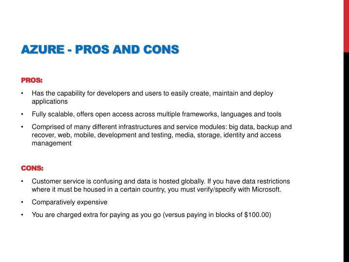Azure - pros and cons