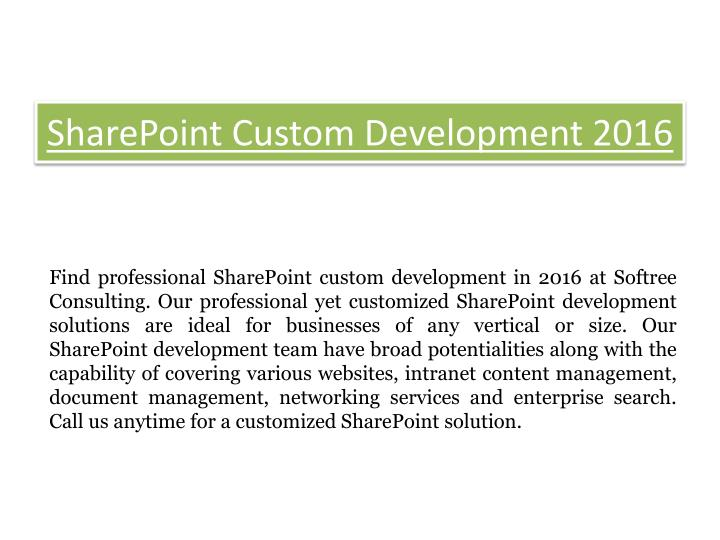SharePoint Custom Development 2016
