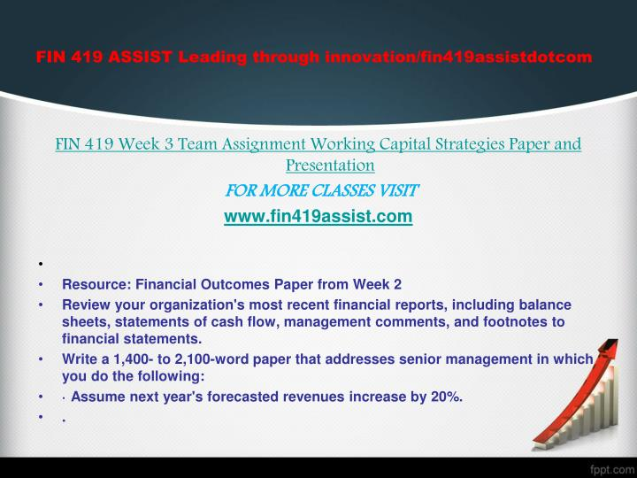 working capital strategies paper and presentation