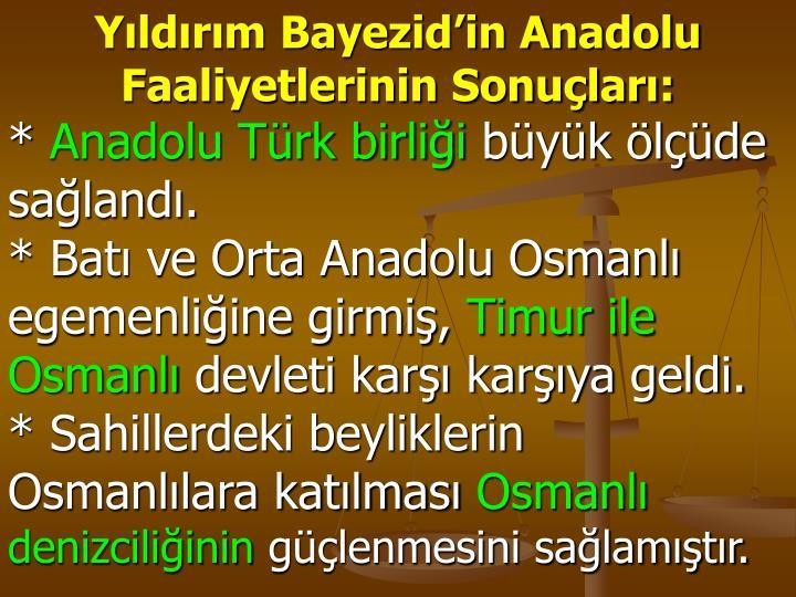 Yıldırım Bayezid'in Anadolu Faaliyetlerinin Sonuçları: