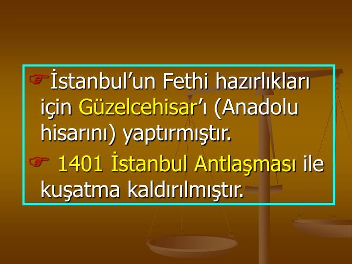 İstanbul'un Fethi hazırlıkları için