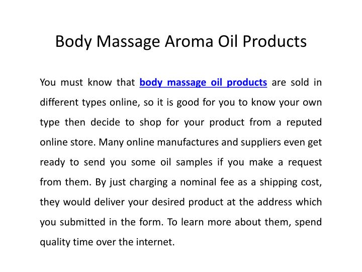 Body Massage Aroma Oil Products