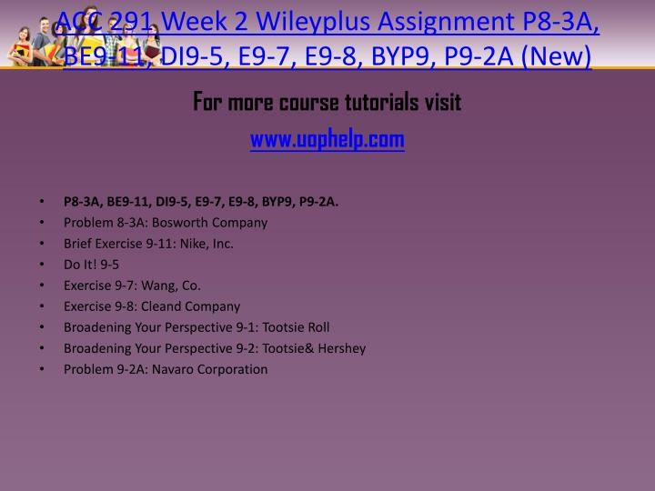 acc 422 week 2 wileyplus assignment Powerpoint slideshow about 'acc 561 week 6 assignment wileyplus' - assignmentcloud01 acc 422 apprentice tutors/snaptutorial -acc 423 entire course\nfor more classes visit soc 100 week 1 individual assignment social group matrix soc 100 week 1 dq 1 soc 100 week 1 dq 2 soc 100 week.