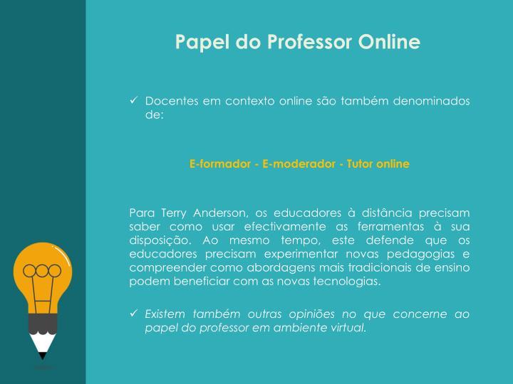 Papel do Professor Online