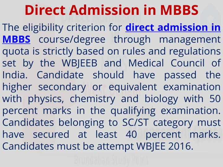 direct admission in mbbs n.