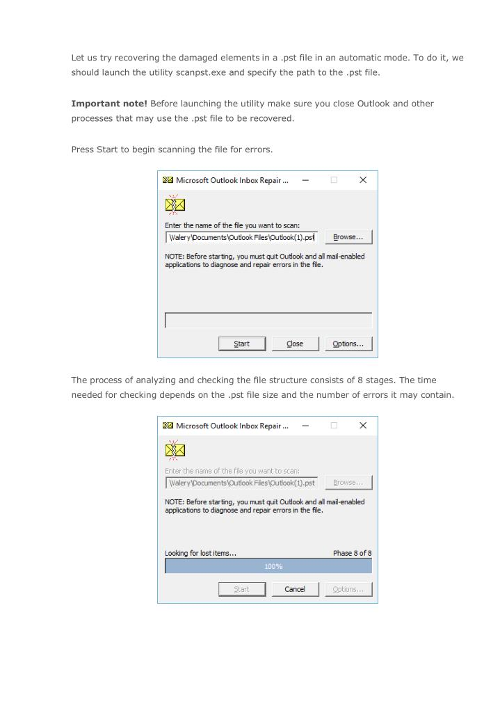 Let us try recovering the damaged elements in a .pst file in an automatic mode. To do it, we