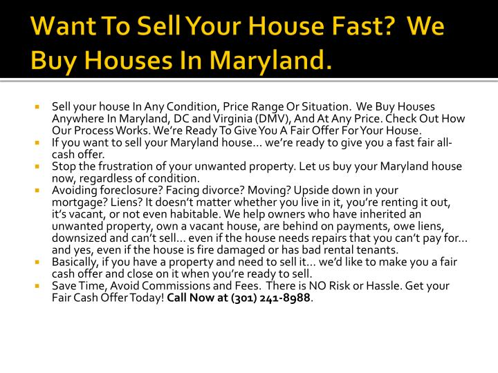 Want to sell your house fast we buy houses in maryland